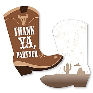 Western Hoedown - Shaped Thank You Cards - Wild West Cowboy Party Thank You Note Cards with Envelopes - Set of 12