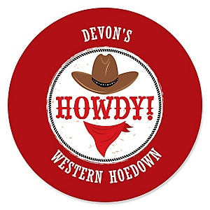Western Hoedown - Personalized Wild West Cowboy Party Sticker Labels - 24 ct