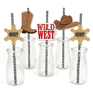 Western Hoedown - Paper Straw Decor - Wild West Cowboy Party Striped Decorative Straws - Set of 24