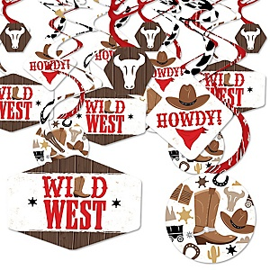 Western Hoedown - Wild West Cowboy Party Hanging Decor - Party Decoration Swirls - Set of 40