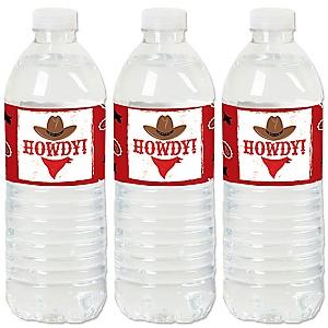 Western Hoedown - Wild West Cowboy Party Water Bottle Sticker Labels - Set of 20