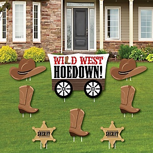 Western Hoedown - Yard Sign & Outdoor Lawn Decorations - Wild West Cowboy Party Yard Signs - Set of 8