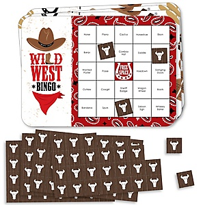 Western Hoedown - Bar Bingo Cards and Markers - Wild West Cowboy Party Bingo Game - Set of 18