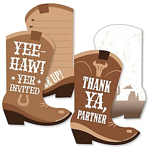 Western Hoedown - 20 Shaped Fill-In Invitations and 20 Shaped Thank You Cards Kit - Wild West Cowboy Party Stationery Kit - 40 Pack