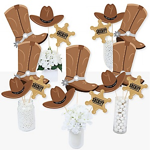 Western Hoedown - Wild West Cowboy Party Centerpiece Sticks - Table Toppers - Set of 15