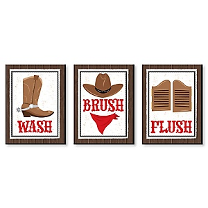 Western Hoedown - Kids Bathroom Rules Wall Art - 7.5 x 10 inches - Set of 3 Signs - Wash, Brush, Flush