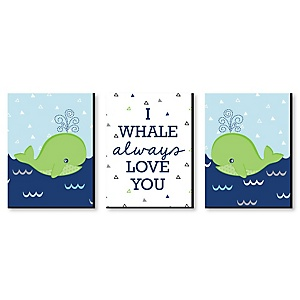 Tale Of A Whale - Baby Boy Nursery Wall Art & Kids Room Décor - 7.5 x 10 inches - Set of 3 Prints