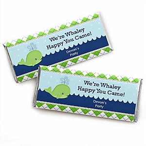 Tale Of A Whale - Personalized Candy Bar Wrapper Baby Shower or Birthday Party Favors - Set of 24