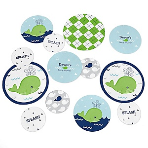 Tale Of A Whale - Personalized Baby Shower Table Confetti - 27 ct