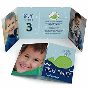 Tale Of A Whale - Personalized Birthday Party Photo Invitations - Set of 12