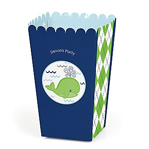 Tale Of A Whale - Personalized Party Popcorn Favor Treat Boxes