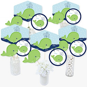 Tale Of A Whale - Baby Shower or Birthday Party Centerpiece Sticks - Table Toppers - Set of 15