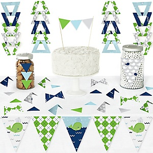 Tale Of A Whale - DIY Pennant Banner Decorations - Baby Shower or Birthday Party Triangle Kit - 99 Pieces
