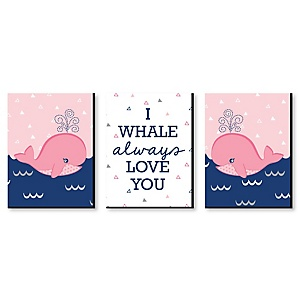 Tale Of A Girl Whale - Baby Girl Nursery Wall Art & Kids Room Décor - 7.5 x 10 inches - Set of 3 Prints