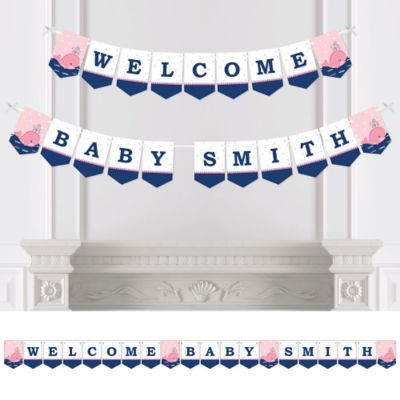 tale of a girl whale baby shower bunting banner u0026 decorations
