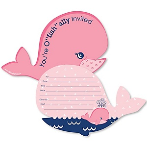 Tale Of A Girl Whale - Shaped Fill-In Invitations - Baby Shower or Birthday Party Invitation Cards with Envelopes - Set of 12