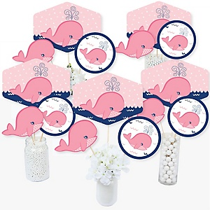Tale Of A Girl Whale - Baby Shower or Birthday Party Centerpiece Sticks - Table Toppers - Set of 15