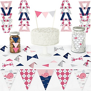 Tale Of A Girl Whale - DIY Pennant Banner Decorations - Baby Shower or Birthday Party Triangle Kit - 99 Pieces