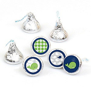 Tale Of A Whale - Round Candy Labels Party Favors - Fits Hershey's Kisses - 108 ct