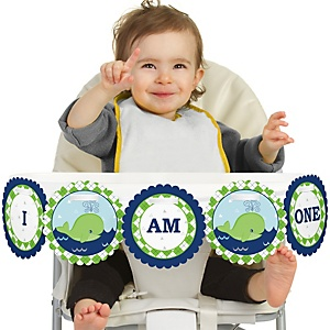 Tale Of A Whale- 1st Birthday - I am One - First Birthday High Chair Banner