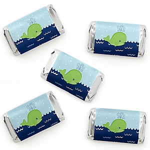 Tale Of A Whale - Mini Candy Bar Wrapper Stickers - Baby Shower or Birthday Party Small Favors - 40 Count
