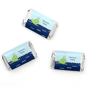 Tale Of A Whale - Personalized Party Mini Candy Bar Wrapper Favors - 20 ct
