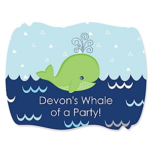 Tale Of A Whale - Personalized Party Squiggle Stickers - 16 ct