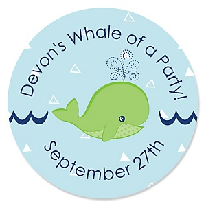 Tale Of A Whale - Personalized Party Sticker Labels - 24 ct