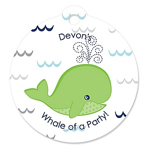 Tale Of A Whale - Personalized Party Tags - 20 ct