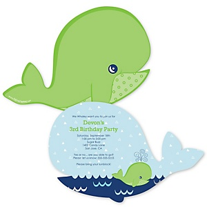 Tale Of A Whale - Shaped Birthday Party Invitations - Set of 12