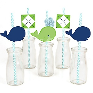 Tale Of A Whale Paper Straw Decor Baby Shower Or Birthday Party Striped Decorative Straws Set 24