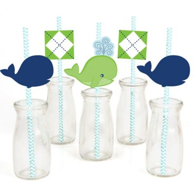 Delightful Tale Of A Whale   Paper Straw Decor   Baby Shower Or Birthday Party Striped  Decorative Straws   Set Of 24