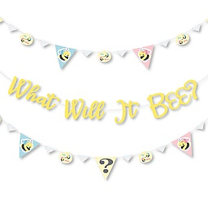 What Will It BEE? - Gender Reveal Letter Banner Decoration - 36 Banner Cutouts and What Will It BEE? Banner Letters