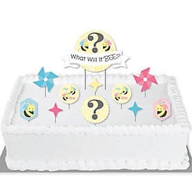 What Will It BEE? - Gender Reveal Cake Decorating Kit - What Will It Bee Cake Topper Set - 11 Pieces
