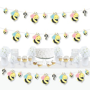 What Will It BEE? - Gender Reveal DIY Decorations - Clothespin Garland Banner - 44 Pieces