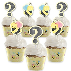 What Will It BEE? - Cupcake Decoration - Gender Reveal Cupcake Wrappers and Treat Picks Kit - Set of 24