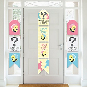 What Will It BEE? - Hanging Vertical Paper Door Banners - Gender Reveal Wall Decoration Kit - Indoor Door Decor