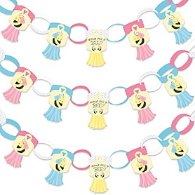 What Will It BEE? - 90 Chain Links and 30 Paper Tassels Decoration Kit - Gender Reveal Paper Chains Garland - 21 feet