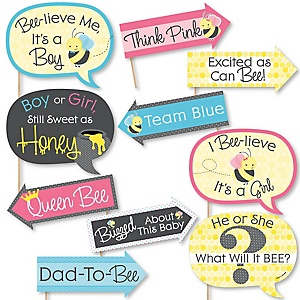 Funny What Will It BEE? - 10 Piece Baby Shower Photo Booth Props Kit