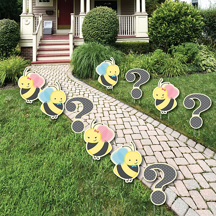 What Will It BEE? - Baby Bodysuit and Question Mark Lawn Decorations - Outdoor Party Yard Decorations - 10 Piece