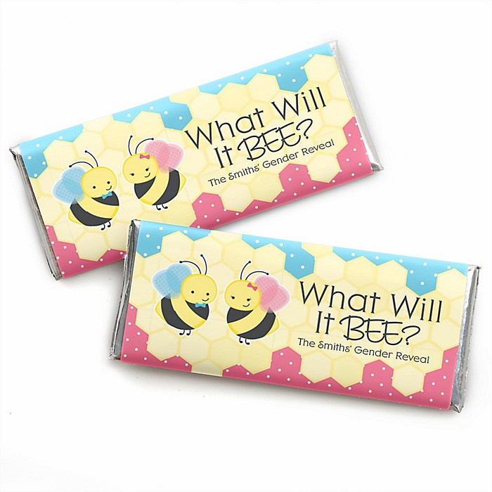 What Will It BEE? - Personalized Candy Bar Wrappers Party Favors - Set of 24