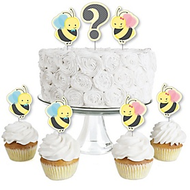 What Will It BEE? - Dessert Cupcake Toppers - Gender Reveal Clear Treat Picks - Set of 24