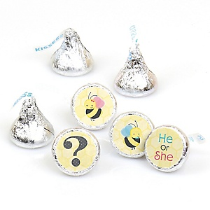 What Will It BEE? - Round Candy Labels Gender Reveal Favors - Fits Hershey's Kisses - 108 ct