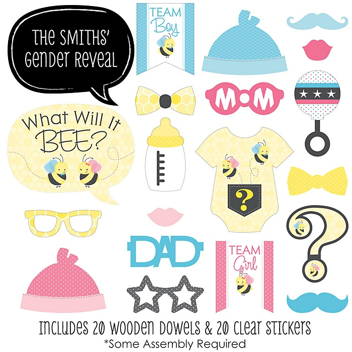 What Will It BEE? - 20 Piece Photo Booth Props Kit