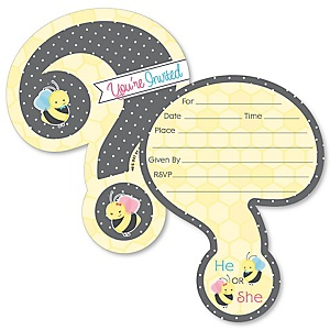 What Will It BEE? - Shaped Fill-In Invitations - Gender Reveal Invitation Cards with Envelopes - Set of 12