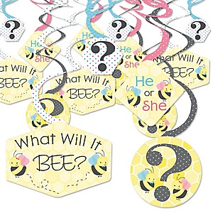 What Will It BEE? - Gender Reveal Hanging Decor - Party Decoration Swirls - Set of 40