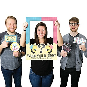 What Will It BEE? - Personalized Baby Shower Selfie Photo Booth Picture Frame & Props - Printed on Sturdy Material