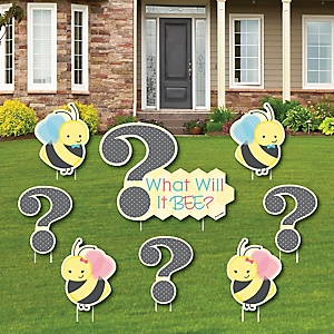 What Will It BEE? - Yard Sign & Outdoor Lawn Decorations - Gender Reveal Yard Signs - Set of 8