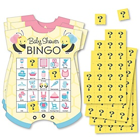 What Will It BEE? - Picture Bingo Cards and Markers - Gender Reveal Shaped Bingo Game - Set of 18