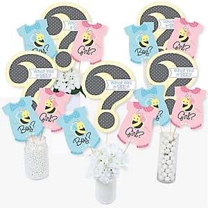 What Will It BEE? - Gender Reveal Party Centerpiece Sticks - Table Toppers - Set of 15